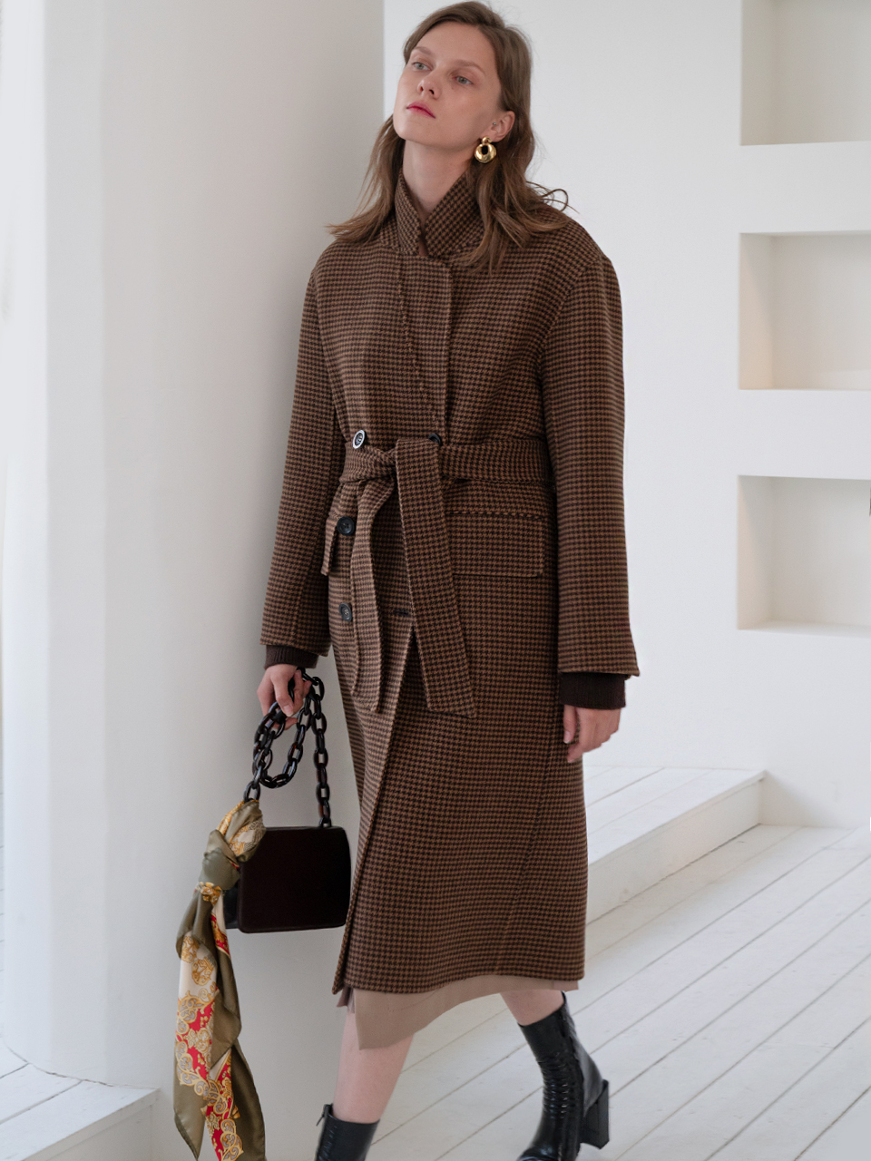 Hand-made Sister Coat(Brown Check)