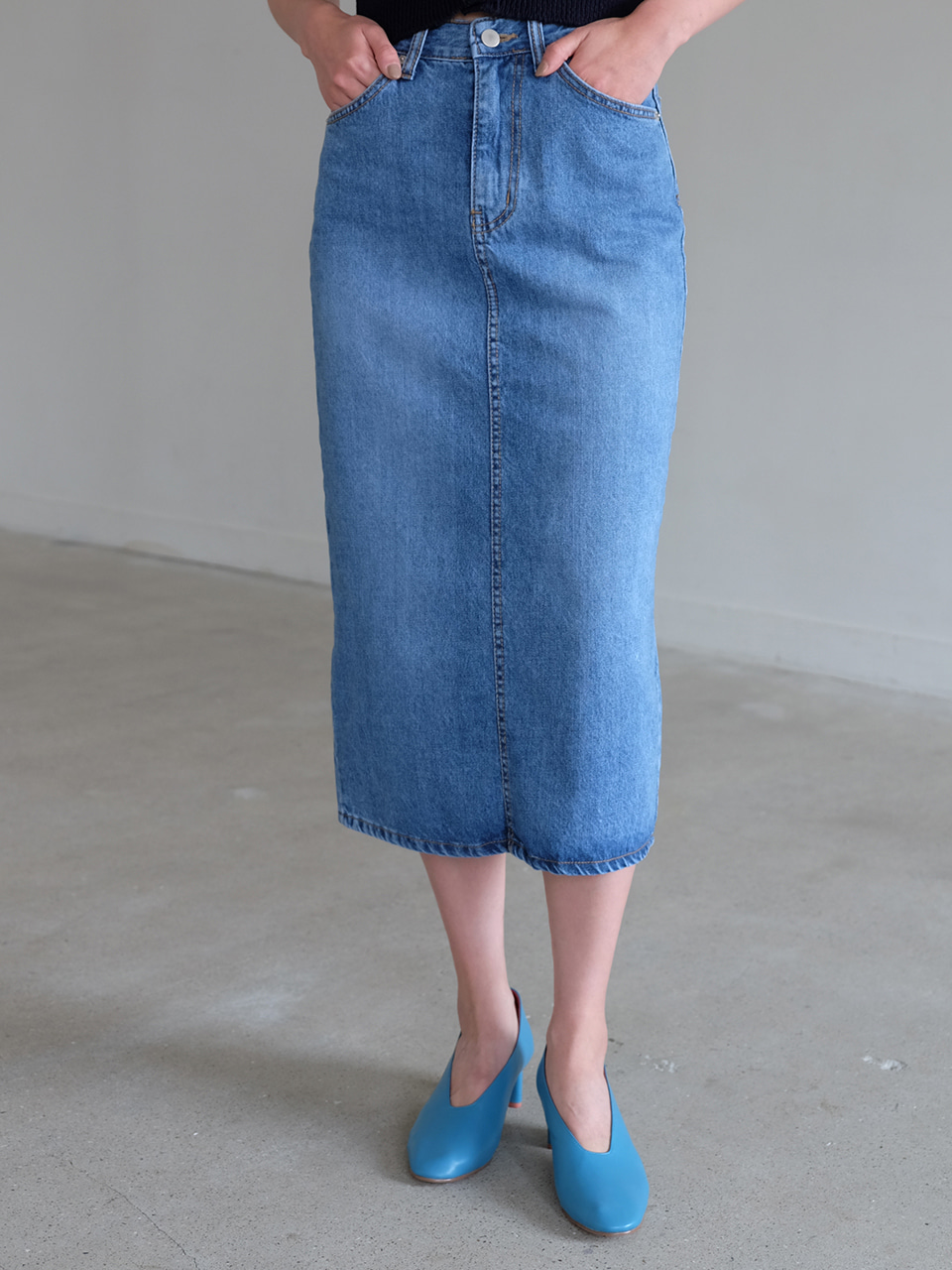 SPRING DENIM SKIRT( BLUE )