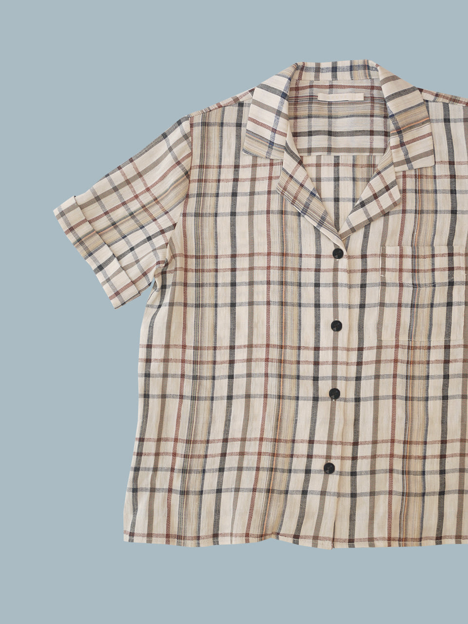 NEW LINEN TAILOR SHIRTS(BEIGE CHECK)