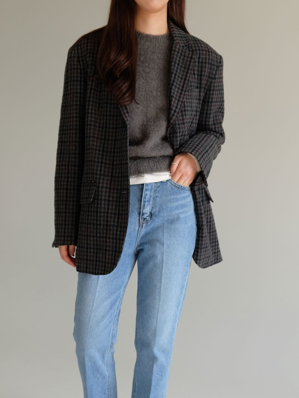 19F/W BELLA JACKET [EBONY CHECK]