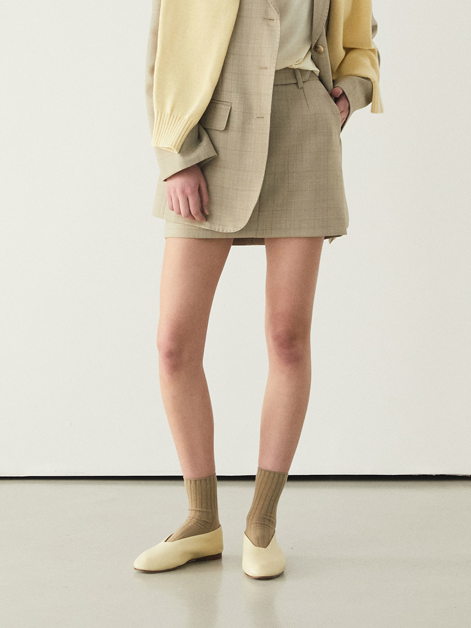 20ss BELLA SKIRTS [BEIGE CHECK]