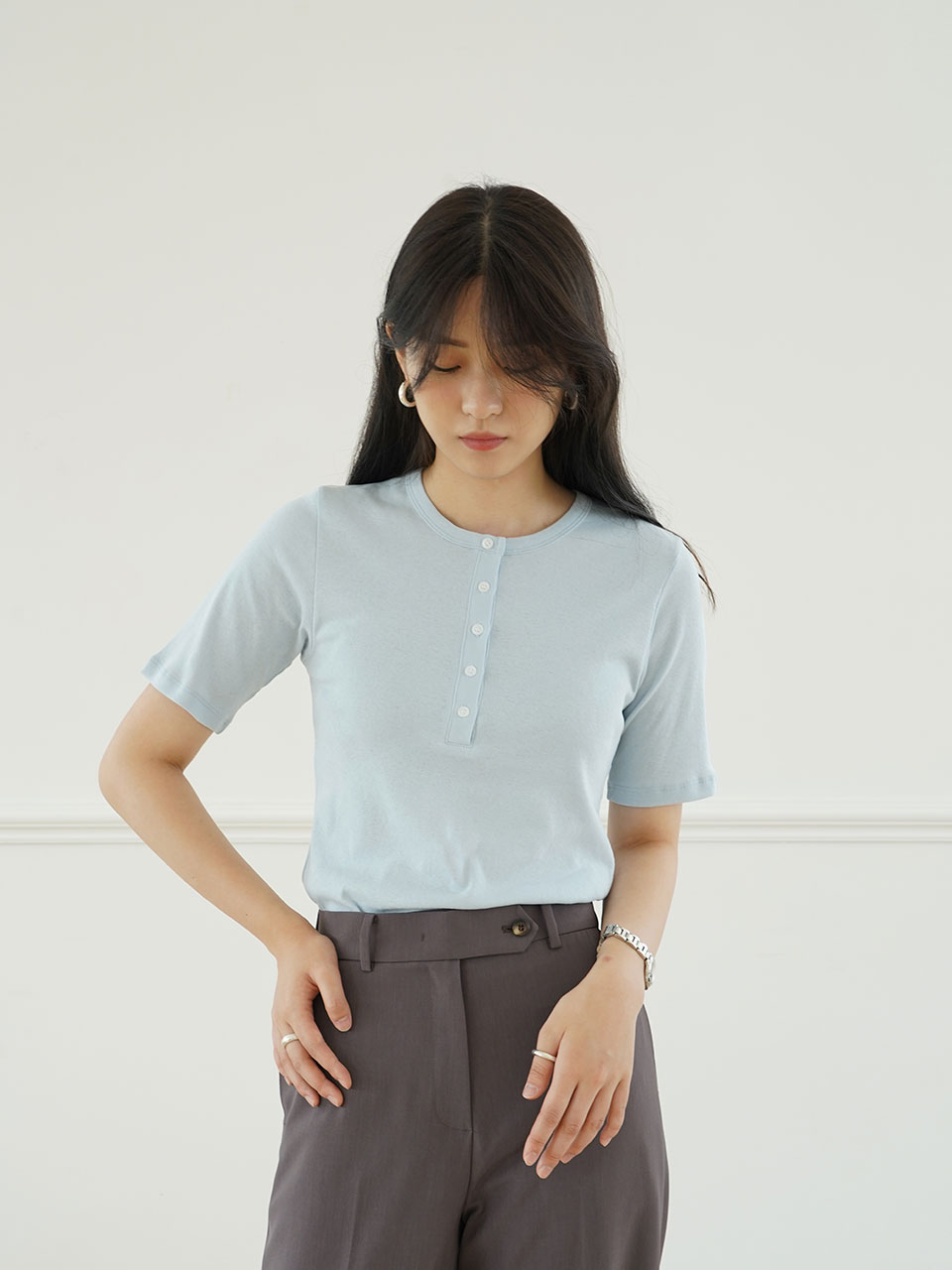 HEY BUTTON TOP [3COLOR]