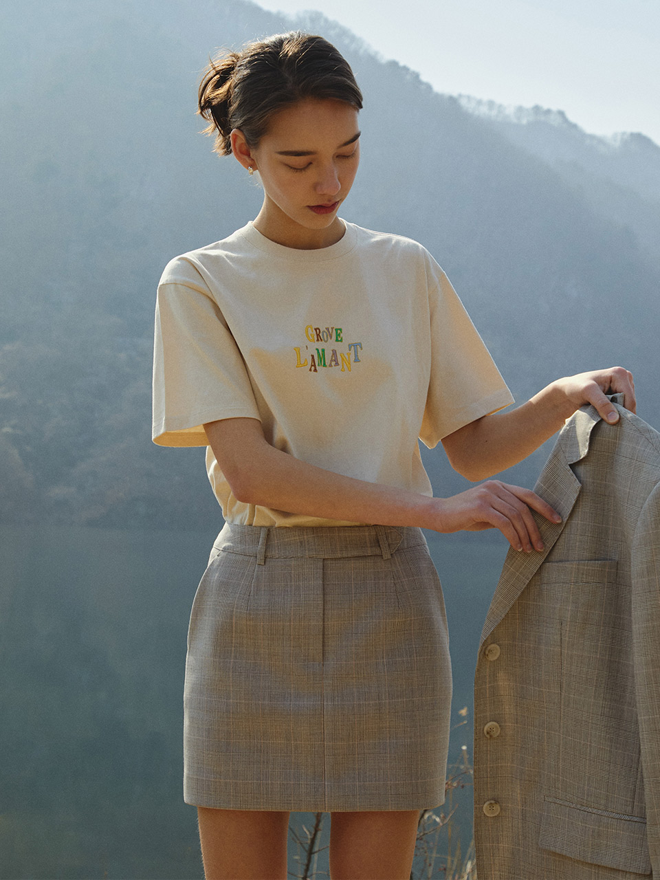 20ss BELLA SKIRTS [PEACH CHECK]