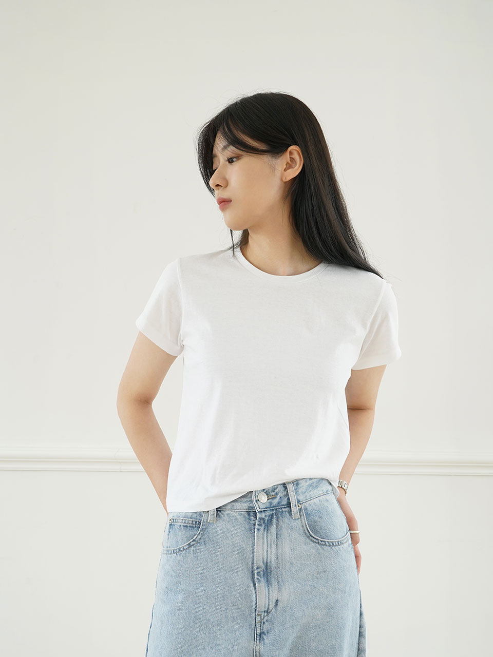 LIN CROP TEE [3COLOR]