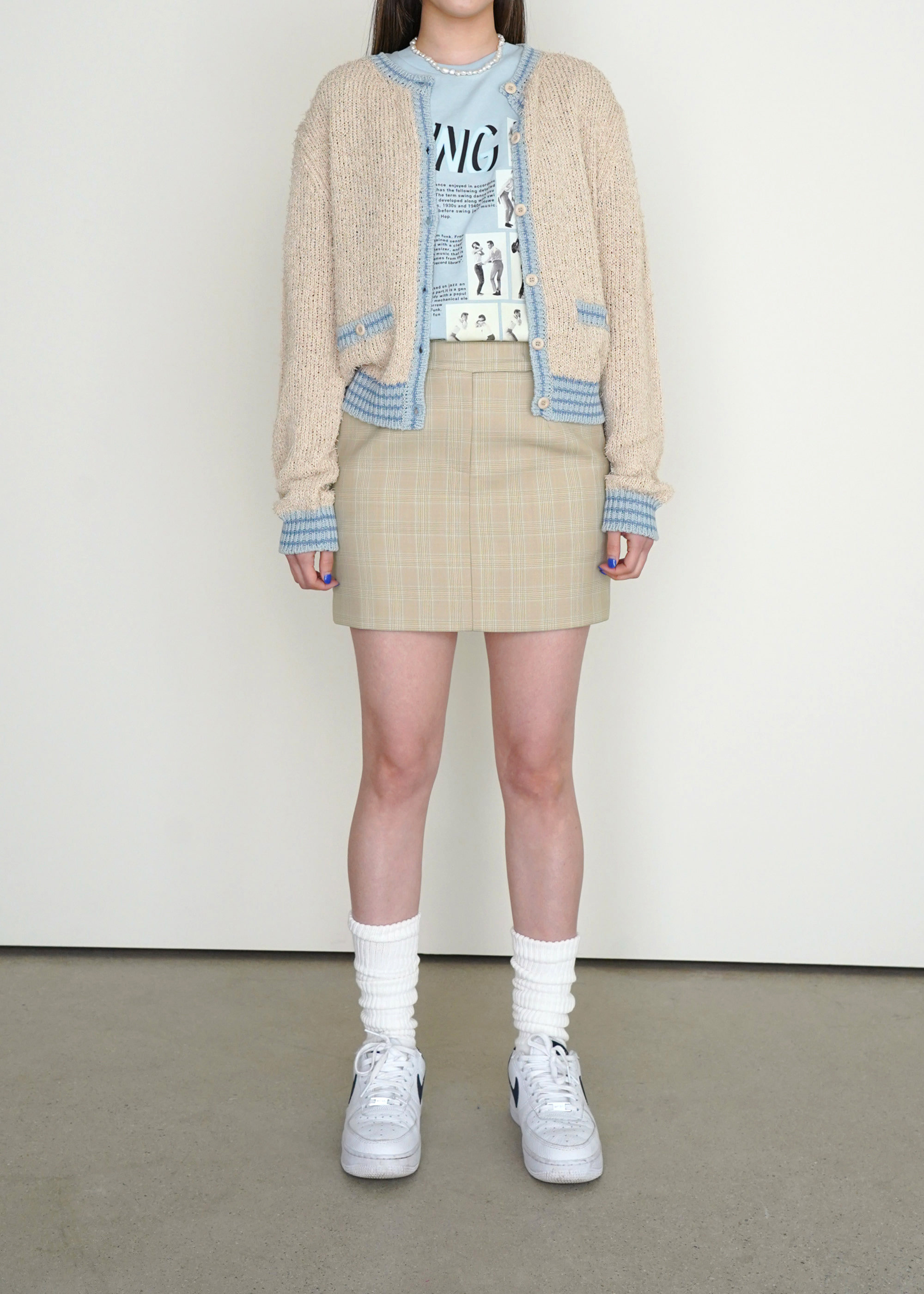 21S/S BELLA SKIRT [LIGHT BEIGE CHECK]