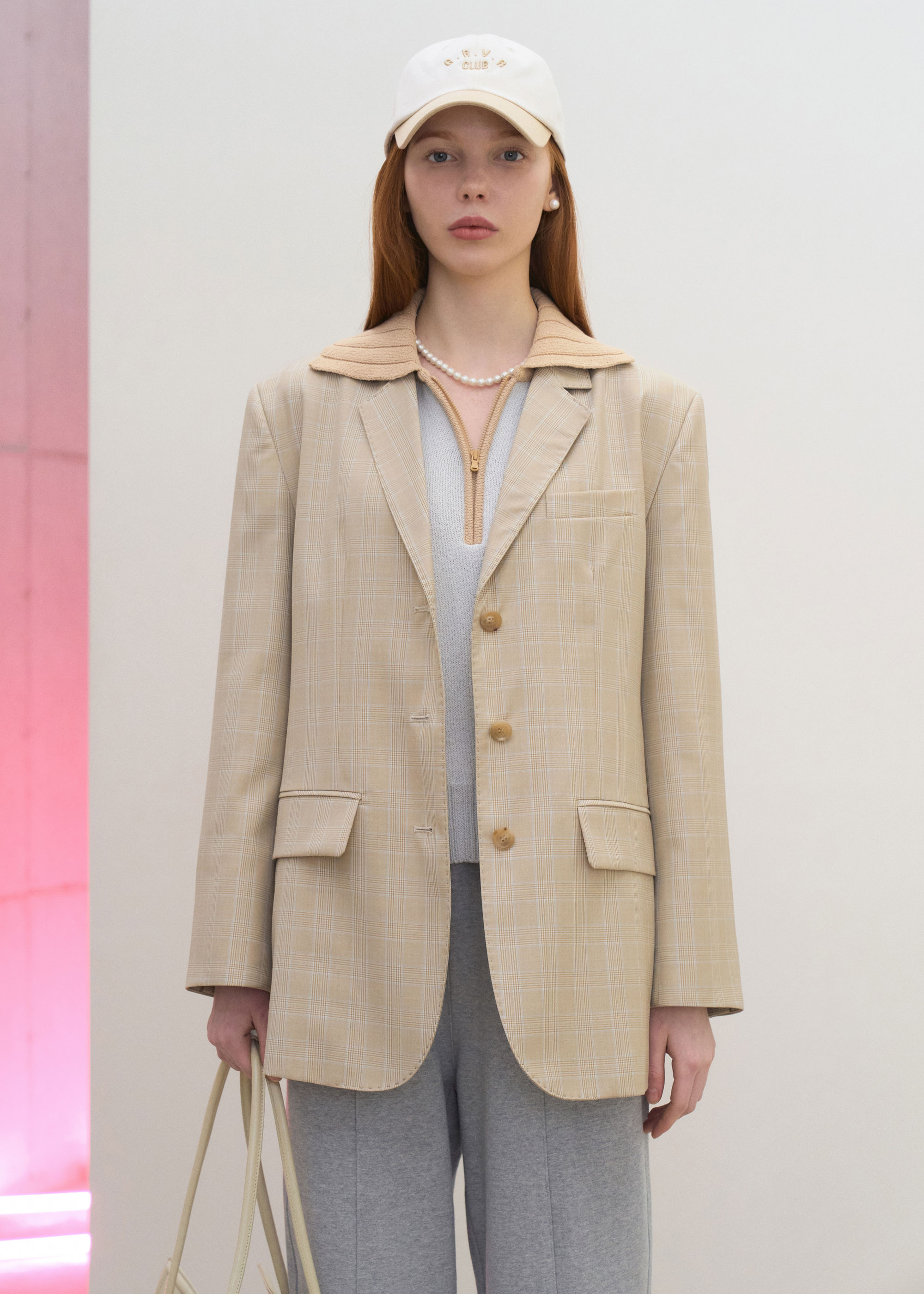 21S/S BELLA JACKET [LIGHT BEIGE CHECK]